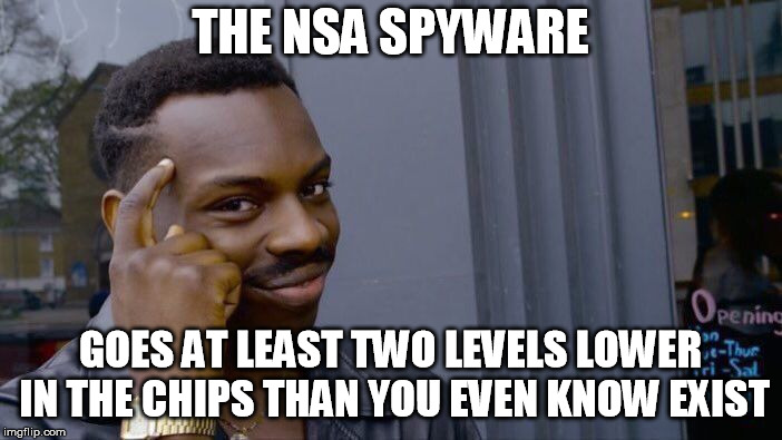 Roll Safe Think About It Meme | THE NSA SPYWARE GOES AT LEAST TWO LEVELS LOWER IN THE CHIPS THAN YOU EVEN KNOW EXIST | image tagged in memes,roll safe think about it | made w/ Imgflip meme maker