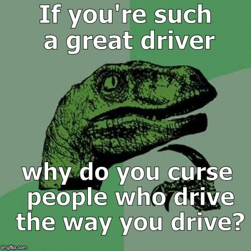Philosoraptor isn't trying to be critical because he's the proto-libertarian. But he is trying to get you to reflect a bit. | If you're such a great driver why do you curse people who drive the way you drive? | image tagged in philosoraptor,your driving,libertarians,proto-libertarian,douglie | made w/ Imgflip meme maker