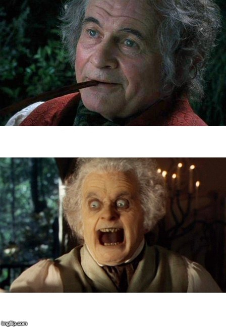 Good and Evil Bilbo | image tagged in bilbo | made w/ Imgflip meme maker