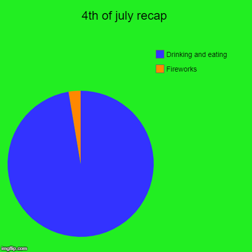 4th of july recap | Fireworks, Drinking and eating | image tagged in funny,pie charts | made w/ Imgflip chart maker
