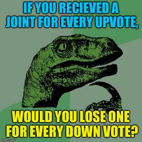Let the voting wars begin  | IF YOU RECIEVED A JOINT FOR EVERY UPVOTE, WOULD YOU LOSE ONE FOR EVERY DOWN VOTE? | image tagged in memes,philosoraptor | made w/ Imgflip meme maker