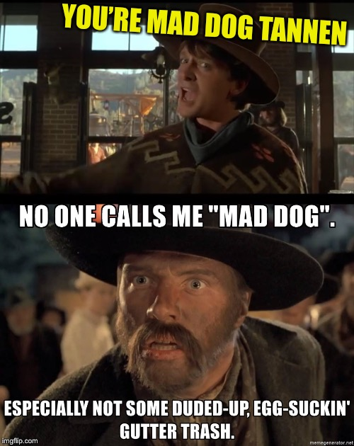 It's a mad mad mad mad mad dog world | YOU'RE MAD DOG TANNEN | image tagged in mad and madder,about it memes,money is amplified,meme | made w/ Imgflip meme maker