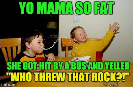 "Yo Mamas So Fat Meme | YO MAMA SO FAT SHE GOT HIT BY A BUS AND YELLED ""WHO THREW THAT ROCK?!"" 