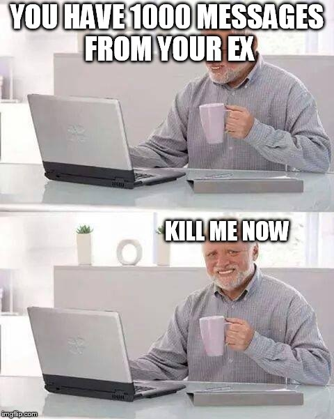 Hide the Pain Harold Meme | YOU HAVE 1000 MESSAGES FROM YOUR EX KILL ME NOW | image tagged in memes,hide the pain harold | made w/ Imgflip meme maker