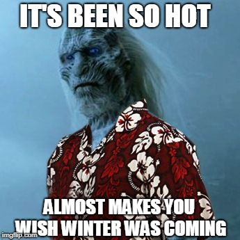 White Walker Hawaiian Shirt | IT'S BEEN SO HOT ALMOST MAKES YOU WISH WINTER WAS COMING | image tagged in white walker hawaiian shirt | made w/ Imgflip meme maker