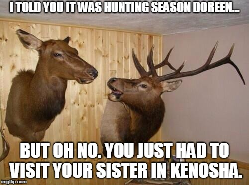 Oh Deer | I TOLD YOU IT WAS HUNTING SEASON DOREEN... BUT OH NO. YOU JUST HAD TO VISIT YOUR SISTER IN KENOSHA. | image tagged in deer,hunting season,kenosha,funny meme | made w/ Imgflip meme maker