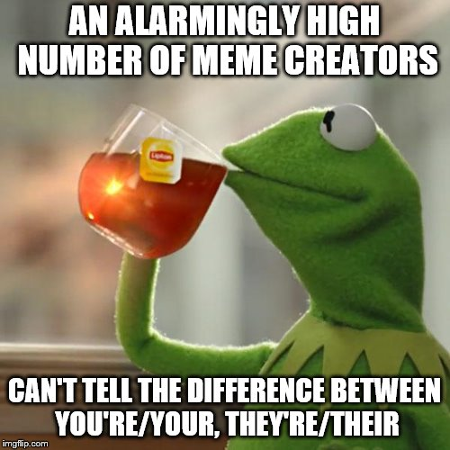 I hate to be that guy but..…. | AN ALARMINGLY HIGH NUMBER OF MEME CREATORS CAN'T TELL THE DIFFERENCE BETWEEN YOU'RE/YOUR, THEY'RE/THEIR | image tagged in memes,but thats none of my business,kermit the frog | made w/ Imgflip meme maker
