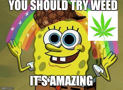 Imagination Spongebob Meme | YOU SHOULD TRY WEED IT'S AMAZING | image tagged in memes,imagination spongebob,scumbag | made w/ Imgflip meme maker
