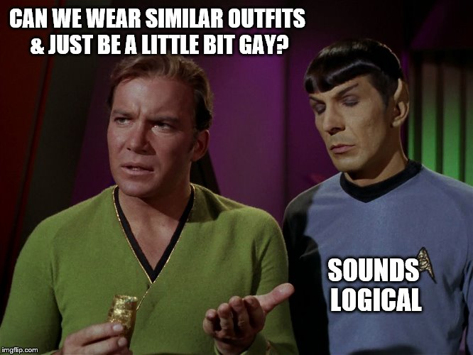 star trek kirk spock wheat | CAN WE WEAR SIMILAR OUTFITS & JUST BE A LITTLE BIT GAY? SOUNDS LOGICAL | image tagged in star trek kirk spock wheat | made w/ Imgflip meme maker