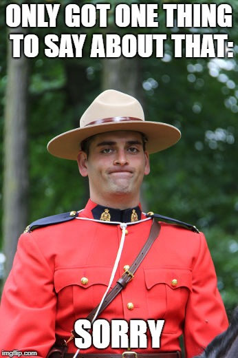Frowning Mountie | ONLY GOT ONE THING TO SAY ABOUT THAT: SORRY | image tagged in frowning mountie | made w/ Imgflip meme maker