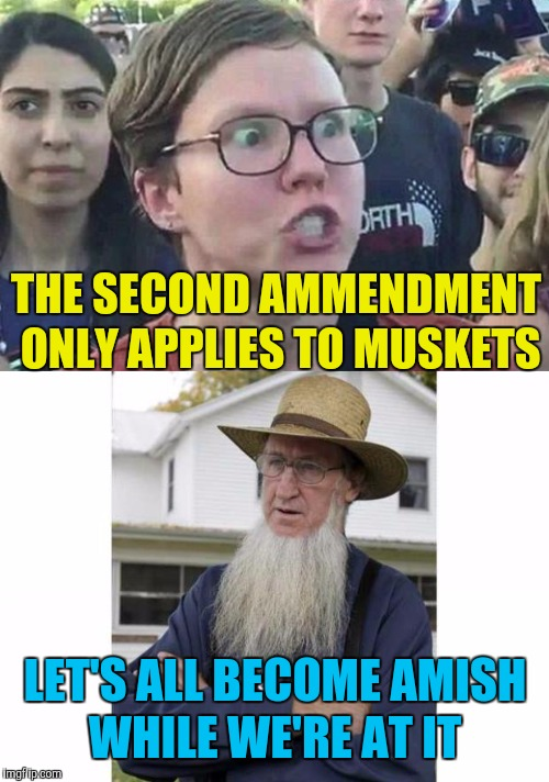 THE SECOND AMMENDMENT ONLY APPLIES TO MUSKETS LET'S ALL BECOME AMISH WHILE WE'RE AT IT | made w/ Imgflip meme maker