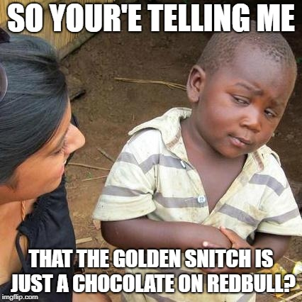 Third World Skeptical Kid Meme | SO YOUR'E TELLING ME THAT THE GOLDEN SNITCH IS JUST A CHOCOLATE ON REDBULL? | image tagged in memes,third world skeptical kid | made w/ Imgflip meme maker