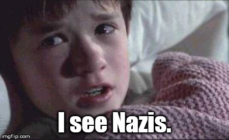 I see Nazis | I see Nazis. | image tagged in memes,i see dead people,nazis,the sixth sense,haley joel osment,politics | made w/ Imgflip meme maker