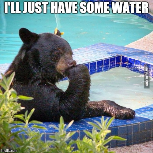 Ponder bear | I'LL JUST HAVE SOME WATER | image tagged in ponder bear | made w/ Imgflip meme maker