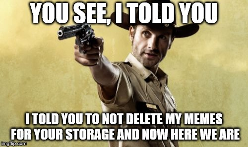Rick Grimes | YOU SEE, I TOLD YOU I TOLD YOU TO NOT DELETE MY MEMES FOR YOUR STORAGE AND NOW HERE WE ARE | image tagged in memes,rick grimes | made w/ Imgflip meme maker