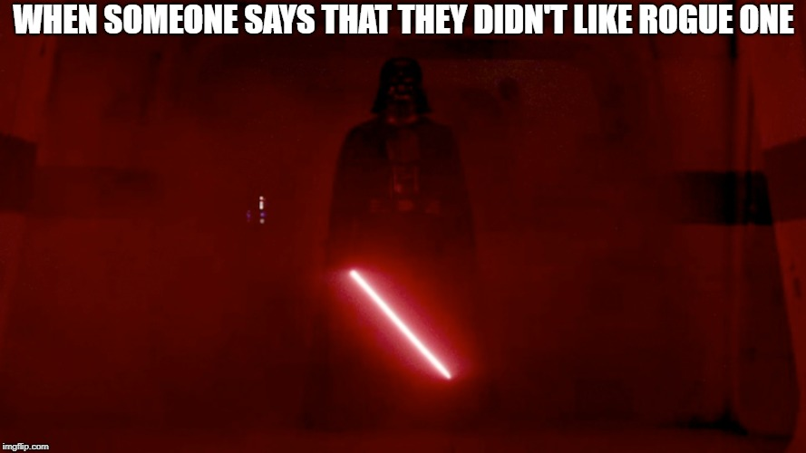 When someone doesn't like Rogue One | WHEN SOMEONE SAYS THAT THEY DIDN'T LIKE ROGUE ONE | image tagged in rogue one,rogue one was good,darth vader | made w/ Imgflip meme maker