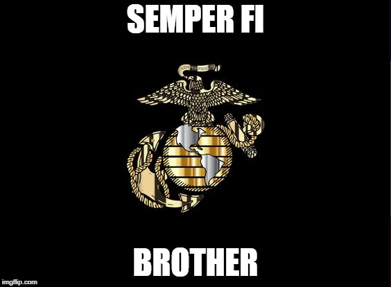 SEMPER FI; BROTHER | image tagged in marine corps,usmc,semper fi,corps,ega | made w/ Imgflip meme maker