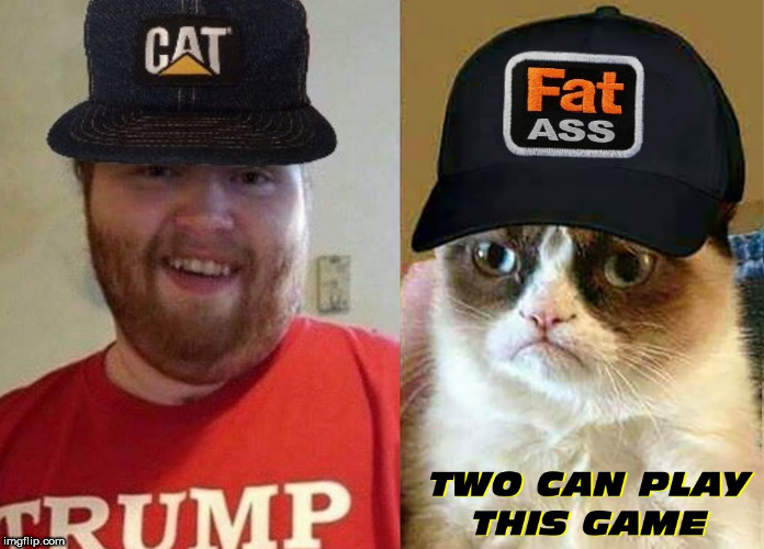 image tagged in fat ass,grumpy cat,trump supporters,cat,caps,grumpy cat insults | made w/ Imgflip meme maker