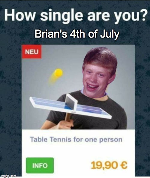 Brian's 4th of July | image tagged in bad luck brian,solo | made w/ Imgflip meme maker
