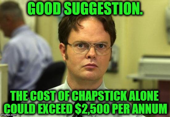 Dwight Schrute Meme | GOOD SUGGESTION. THE COST OF CHAPSTICK ALONE COULD EXCEED $2,500 PER ANNUM | image tagged in memes,dwight schrute | made w/ Imgflip meme maker