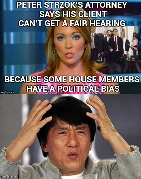 Real news because you can't make this stuff up | PETER STRZOK'S ATTORNEY SAYS HIS CLIENT CAN'T GET A FAIR HEARING BECAUSE SOME HOUSE MEMBERS HAVE A POLITICAL BIAS | image tagged in real news network,jackie chan wtf,liberal bias,seriously | made w/ Imgflip meme maker