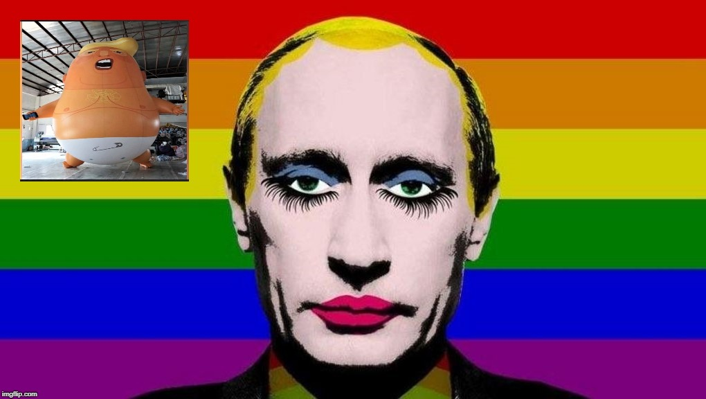 Putin Flag Trump Flag | image tagged in putin,putin flag,trump,trump flag,treason,trump balloon | made w/ Imgflip meme maker