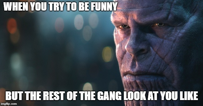 Honestly I loved Thanos regardless of what he did in IW | WHEN YOU TRY TO BE FUNNY BUT THE REST OF THE GANG LOOK AT YOU LIKE | image tagged in thanos,gang,infinity war,memes | made w/ Imgflip meme maker