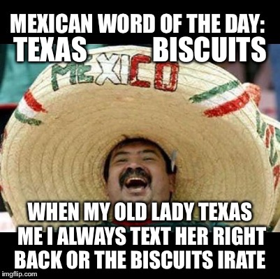 Mexican Word of the Day (LARGE) | TEXAS            BISCUITS WHEN MY OLD LADY TEXAS ME I ALWAYS TEXT HER RIGHT BACK OR THE BISCUITS IRATE | image tagged in mexican word of the day large | made w/ Imgflip meme maker