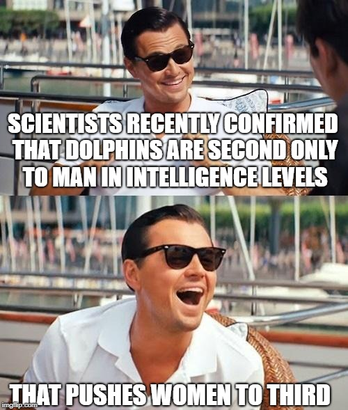 Leonardo Dicaprio Wolf Of Wall Street Meme | SCIENTISTS RECENTLY CONFIRMED THAT DOLPHINS ARE SECOND ONLY TO MAN IN INTELLIGENCE LEVELS THAT PUSHES WOMEN TO THIRD | image tagged in memes,leonardo dicaprio wolf of wall street | made w/ Imgflip meme maker