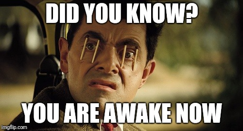 Did you know that? | DID YOU KNOW? YOU ARE AWAKE NOW | image tagged in staying awake | made w/ Imgflip meme maker