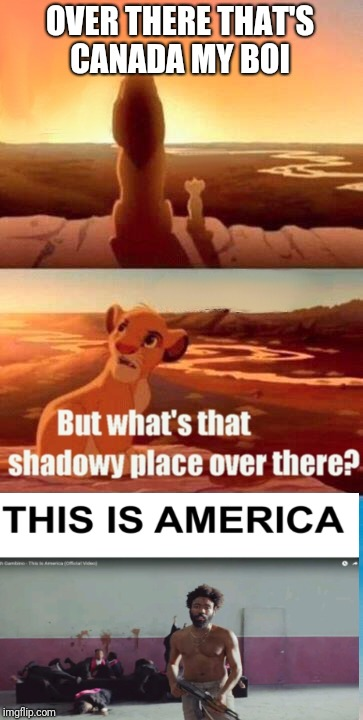 Simba Shadowy Place Meme | OVER THERE THAT'S CANADA MY BOI | image tagged in memes,simba shadowy place | made w/ Imgflip meme maker