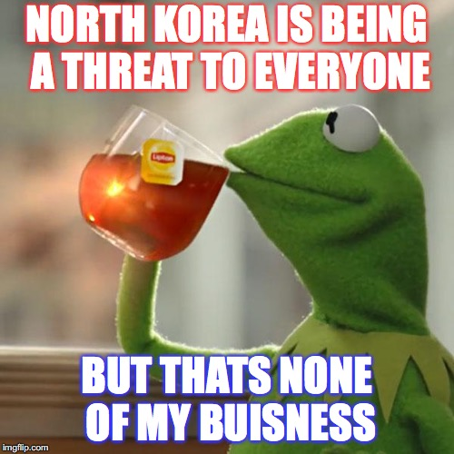An Example Of me Being Chill | NORTH KOREA IS BEING A THREAT TO EVERYONE BUT THATS NONE OF MY BUISNESS | image tagged in memes,but thats none of my business,kermit the frog | made w/ Imgflip meme maker
