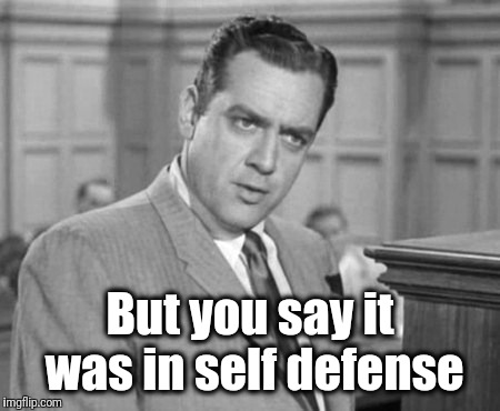 Perry Mason | But you say it was in self defense | image tagged in perry mason | made w/ Imgflip meme maker