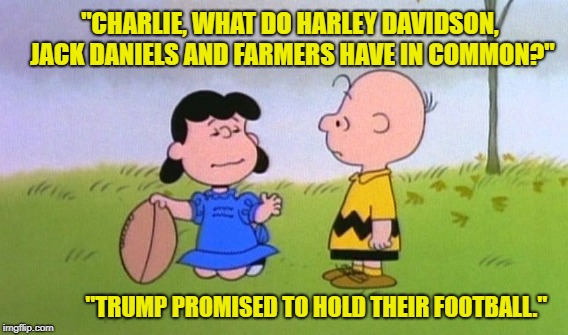 "Victims of Tariffism | ""CHARLIE, WHAT DO HARLEY DAVIDSON, JACK DANIELS AND FARMERS HAVE IN COMMON?"" ""TRUMP PROMISED TO HOLD THEIR FOOTBALL."" 