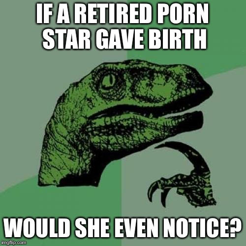 Philosoraptor Meme | IF A RETIRED PORN STAR GAVE BIRTH WOULD SHE EVEN NOTICE? | image tagged in memes,philosoraptor | made w/ Imgflip meme maker
