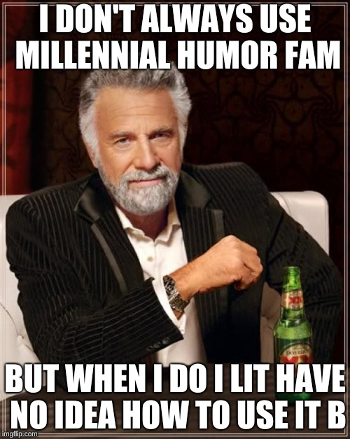 Shamalama, i'm on legit fleekle. | I DON'T ALWAYS USE MILLENNIAL HUMOR FAM BUT WHEN I DO I LIT HAVE NO IDEA HOW TO USE IT B | image tagged in memes,the most interesting man in the world | made w/ Imgflip meme maker