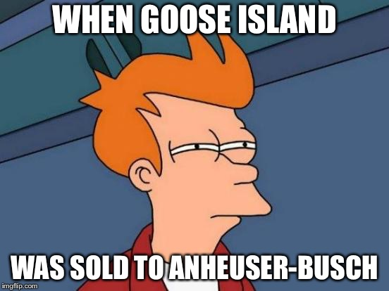 Hate when great craft-breweries sell out.  Ah well, as long as they carry on the original recipes.  Cheers! | WHEN GOOSE ISLAND WAS SOLD TO ANHEUSER-BUSCH | image tagged in memes,futurama fry,beer,craft beer | made w/ Imgflip meme maker