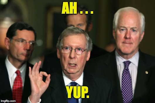 Mitch McConnell Zero | AH . . . YUP. | image tagged in mitch mcconnell zero | made w/ Imgflip meme maker