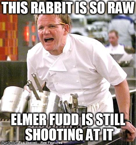 Chef Gordon Ramsay | THIS RABBIT IS SO RAW ELMER FUDD IS STILL SHOOTING AT IT | image tagged in memes,chef gordon ramsay,elmer fudd,bugs bunny | made w/ Imgflip meme maker