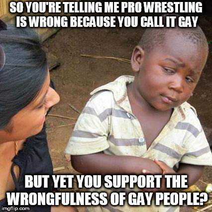 I believe I've started a wildfire with this one. In a nutshell: You can't reproduce with the same gender as you. | SO YOU'RE TELLING ME PRO WRESTLING IS WRONG BECAUSE YOU CALL IT GAY BUT YET YOU SUPPORT THE WRONGFULNESS OF GAY PEOPLE? | image tagged in memes,third world skeptical kid,pro wrestling | made w/ Imgflip meme maker