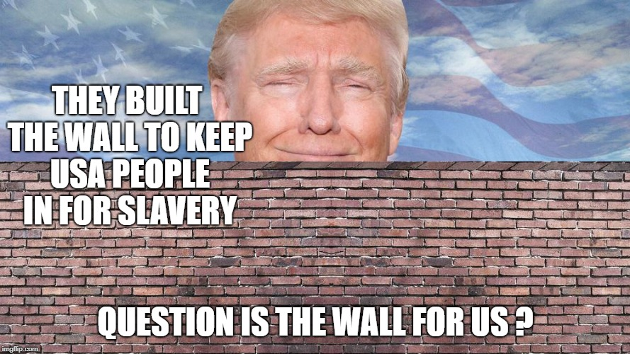 Trump's wall 23 | THEY BUILT THE WALL TO KEEP USA PEOPLE IN FOR SLAVERY QUESTION IS THE WALL FOR US ? | image tagged in trump wall funny meme donald trump politics memes humor mexico usa | made w/ Imgflip meme maker
