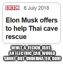 Elon Musk offers help | WHAT  A  FECKIN  IDJIT.  AN ELECTRIC  CAR  WOULD  SHORT  OUT  UNDERWATER, DUH! | image tagged in elon musk | made w/ Imgflip meme maker