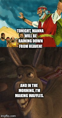 Moses and Donkey talk about Bread | TONIGHT, MANNA WILL BE RAINING DOWN FROM HEAVEN! AND IN THE MORNING, I'M MAKING WAFFLES. | image tagged in funny memes | made w/ Imgflip meme maker