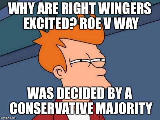 Futurama Fry Meme | WHY ARE RIGHT WINGERS EXCITED? ROE V WAY WAS DECIDED BY A CONSERVATIVE MAJORITY | image tagged in memes,futurama fry | made w/ Imgflip meme maker