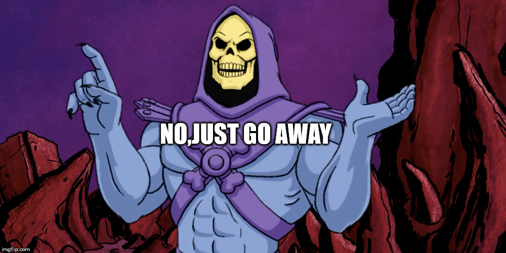 NO,  | NO,JUST GO AWAY | image tagged in skeletor | made w/ Imgflip meme maker
