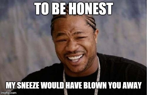 Yo Dawg Heard You Meme | TO BE HONEST MY SNEEZE WOULD HAVE BLOWN YOU AWAY | image tagged in memes,yo dawg heard you | made w/ Imgflip meme maker