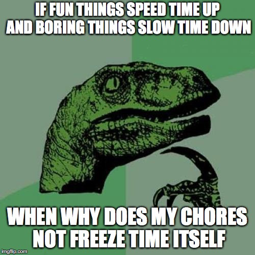 Philosoraptor Meme | IF FUN THINGS SPEED TIME UP AND BORING THINGS SLOW TIME DOWN WHEN WHY DOES MY CHORES NOT FREEZE TIME ITSELF | image tagged in memes,philosoraptor | made w/ Imgflip meme maker