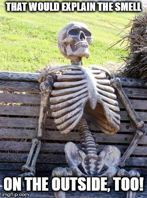 Waiting Skeleton Meme | THAT WOULD EXPLAIN THE SMELL ON THE OUTSIDE, TOO! | image tagged in memes,waiting skeleton | made w/ Imgflip meme maker