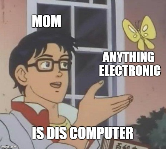 Is This A Pigeon Meme | MOM ANYTHING ELECTRONIC IS DIS COMPUTER | image tagged in memes,is this a pigeon | made w/ Imgflip meme maker