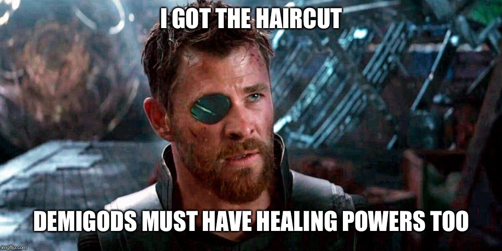 I GOT THE HAIRCUT DEMIGODS MUST HAVE HEALING POWERS TOO | made w/ Imgflip meme maker